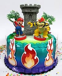 mario cake topper mario brothers mario versus bowser castle themed birthday