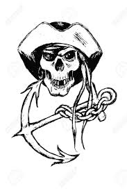 original black and white illustration of pirate skull with anchor