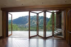 Wooden Bifold Patio Doors Kitchen Large Folding Patio Doors With Wooden Frame Together With
