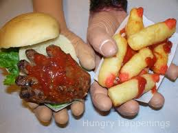 halloween food ideas for kids party hand burgers hand shaped hamburgers creepy halloween recipe