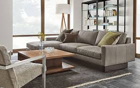 room and board leather sofa hess sofa with chaise in annata grey modern living room furniture