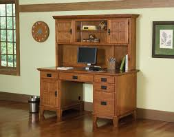 Desk With Computer Storage Home Styles Arts And Crafts Cottage Oak Pedestal Desk And Hutch