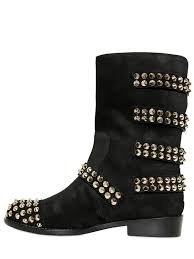 mens biker boots fashion giuseppe zanotti studded suede multi strap biker boots in black