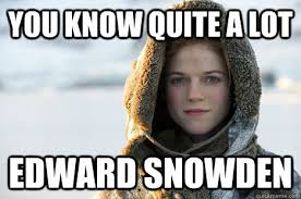 Snowden Meme - you know quite a lot edward snowden know nothing ygritte quickmeme