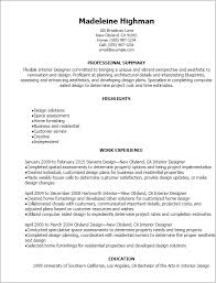 Resume Summary Statement Examples Entry Level by Professional Interior Designer Resume Templates To Showcase Your