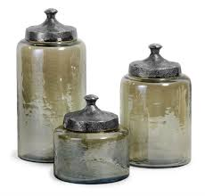 amazon com set of 3 rustic tinted hammered glass jar canisters