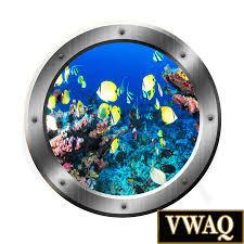 submarine window underwater scene wall decal of fish ocean
