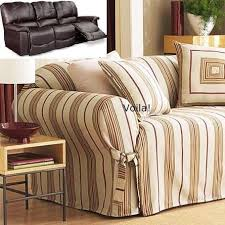 Sure Fit Dual Reclining Sofa Slipcover Dual Reclining Sofa Slipcover Shabby Cottage Linen Stripe Recliner
