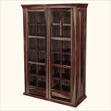 furniture unique wood storage cabinets with glass door with tall