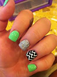 two of my favorite things lime green and chevron nails