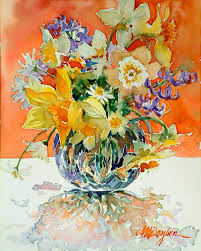 daffs and daisies painting by maryann boysen