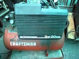 Craftsman 3 Gallon Air Compressor Lot 0141 Craftsman 3hp 20 Gallon Air Compressor Youtube