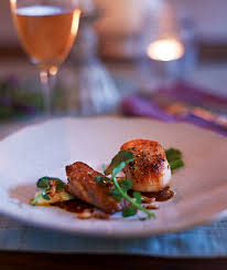 chicken wings scallops and leeks with prune purée delicious