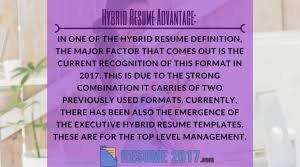 why you should use hybrid resume template resume 2017