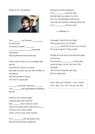 worksheet shape of you by ed sheeran