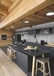 cuisine sol noir cuisine au design sublimé avec du bois