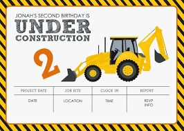 Invitation Blank Card Stock Construction Themed Birthday Party Free Printables Jacqueline