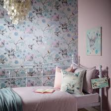 Wallpaper For Bedroom Walls Girls Chic Wallpaper Kids Bedroom Feature Wall Decor Various
