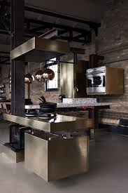 Industrial Kitchen Cabinets Love This Brass Kitchen The Faux Steel Beams Used To