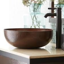 copper bathroom faucet 16 inch maestro round copper vessel sink native trails