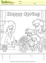 happy spring family coloring page kids crafts coloring