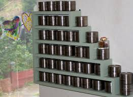 Spice Rack For Wall Mounting Stair Shaped Wall Hanging Spice Rack In Grey Paint Color As Well