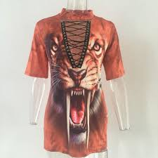 women tigers print v neck lace up t shirt dress halloween