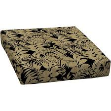 mainstays outdoor deep seat seat cushion black and tan leaf