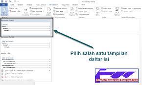 membuat daftar isi table of contents di word 2007 cara membuat daftar isi table of contents otomatis di word 2013