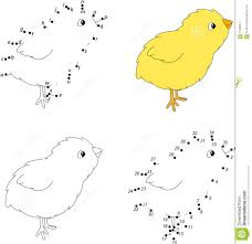 cartoon yellow chicken coloring book and dot to dot game for ki