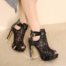 women sandals lace lady party shoes platform white black