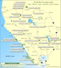 Map Of Napa Valley North Bay Counties Campground Map
