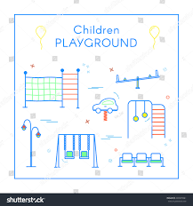 vector linear childrens playground design elements stock vector