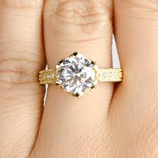 gold engagement ring settings 2 5ct cut cz crown set goldtone engagement ring