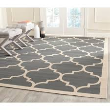 Square Indoor Outdoor Rugs Safavieh Courtyard Moroccan Pattern Anthracite Beige Indoor