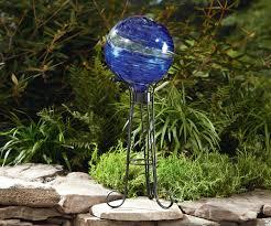 Gazing Globe Stand Essential Garden Glow In The Dark Gazing Ball Blue Outdoor