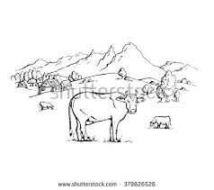 vector sketch cow landscape mountains trees stock vector 379626526