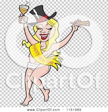 new year sash of a partying new year caucasian woman in a