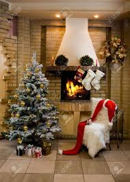 image of nice comfortable room decorated for christmas with fir