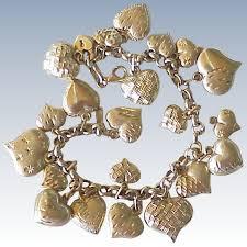 gold hearts charm bracelet images Vintage puffy heart charm bracelet 14k gold 22 charms a charmed jpg