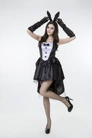 Girls Vampire Halloween Costume 2017 Black White Bunny Dress Coat Tails Uniform