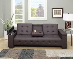 faux leather adjustable futon sofa bed center console