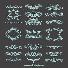 blue vintage ornaments vector free