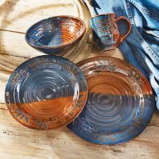 earth sky stoneware pottery dinnerware set 16 pcs