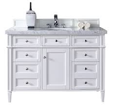 White Bathroom Vanity With Carrera Marble Top by Brittany 48