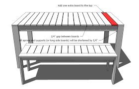 Building Plans For Picnic Table Bench by Ana White Simple Outdoor Dining Table Diy Projects