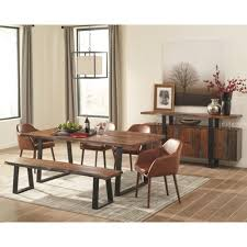scott living jamestown rustic dining room group with brown chairs