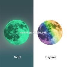 8 colours luminous night moon wall stickers creative home