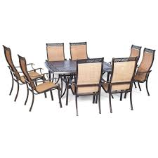 6 Person Patio Dining Set - hanover manor 9 piece square patio dining set mandn9pcsq the