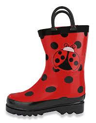 amazon com puddle play kids girls u0027 ladybug printed waterproof